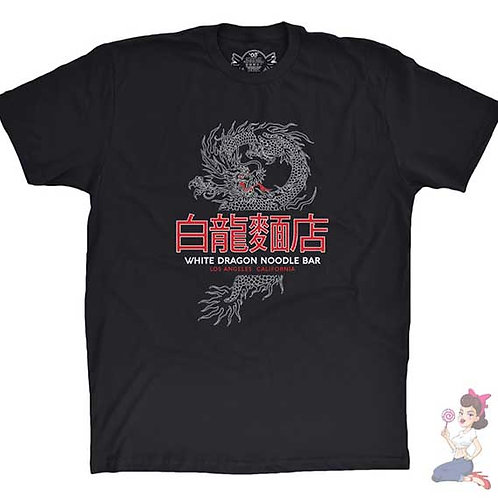Blade runner white dragon noodle bar flat black t-shirt