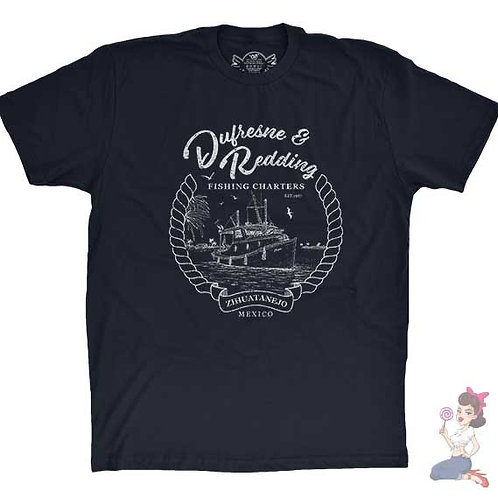 Dufresne & redding fishing charters flat navy t-shirt