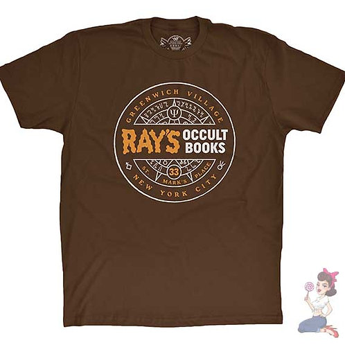 Ray's occult books flat brown t-shirt
