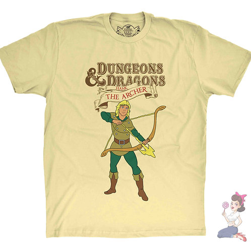 Hank the Archer from Dungeons and Dragons yellow t-shirt