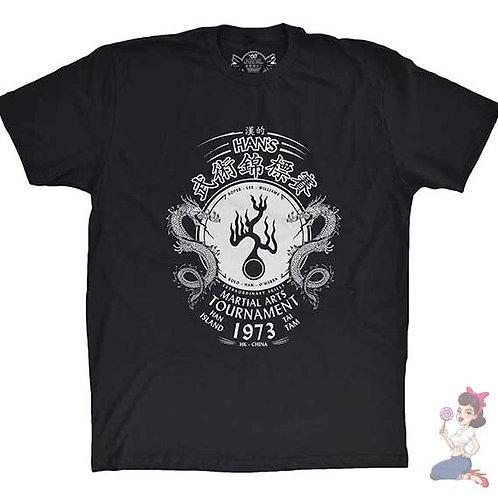 Han's martial arts tournament flat black t-shirt
