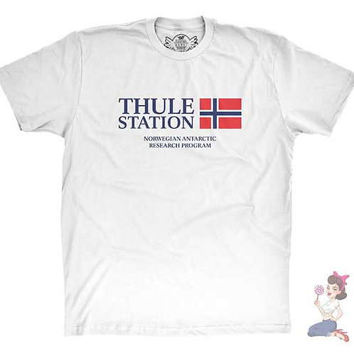 The Thing Thule Station Norwegian Antarctic Research Program flat white t-shirt