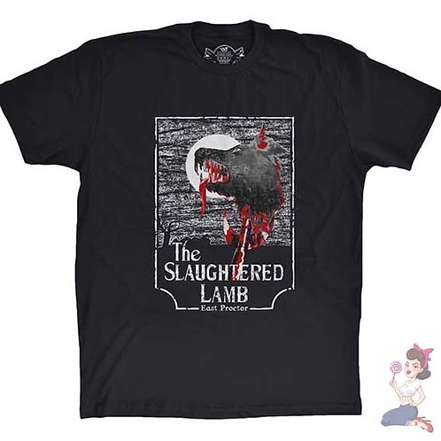 American Werewolf In London The Slaughtered Lamb flat black t-shirt