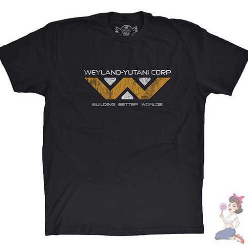 Aliens Weyland Yutani Corp flat black t-shirt