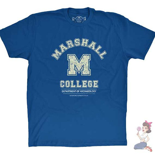 Marshall College blue flat t-shirt