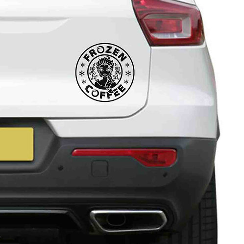 A vinyl decal showing Elsa from Frozen enjoying her coffee on a rear car boot