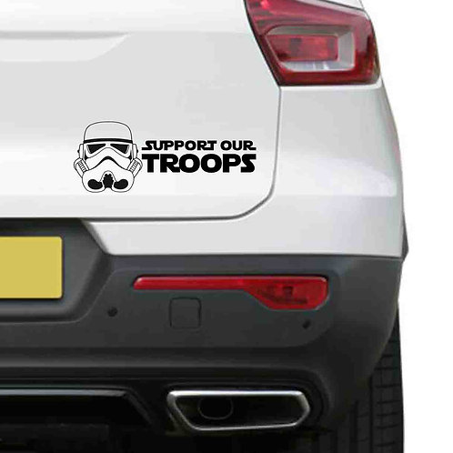 A vinyl decal showing a Stormtrooper and the words support our troops on a rear car boot