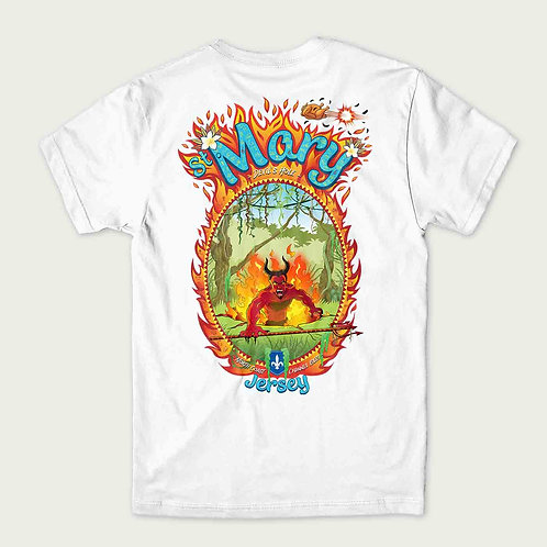 A devil character coming up from the ground surrounded by flames on the back of a t-shirt