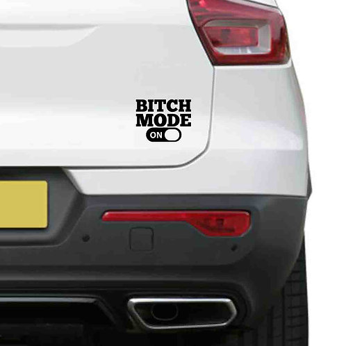 A vinyl decal showing Bitch Mode switch on or off on a rear car window