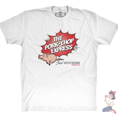the pork chop express flat White t-shirt