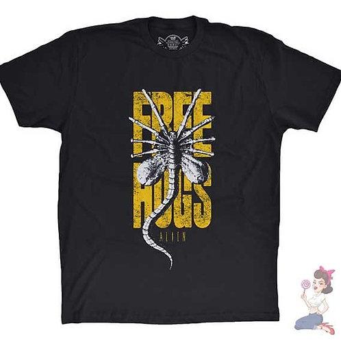Free Hugs Alien Xenomorph flat Black t-shirt