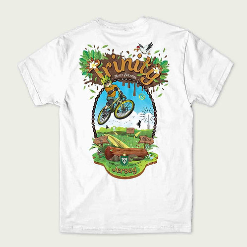 Trinity in Jersey cartoon character off road biker jumping in the air on the back of a t-shirt