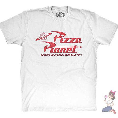 Pizza planet flat white t-shirt