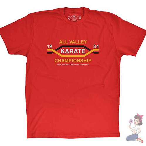 1984 all valley karate championships flat red t-shirt