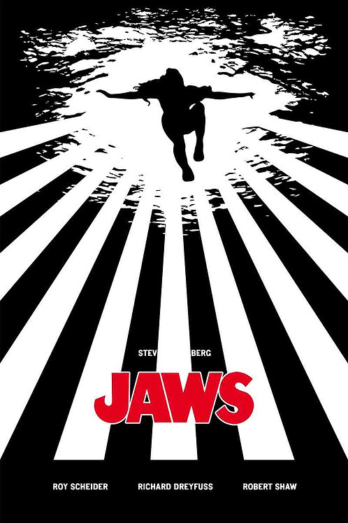 Jaws Silhouette Of A Women Swimming From Below Movie Poster