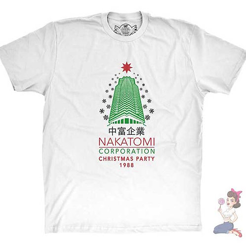 Die Hard Nakatomi Corporation Christmas Party flat white t-shirt