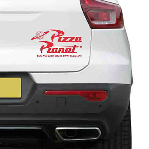 A vinyl decal showing a Pizza Planet from Toy Story on a rear car boot