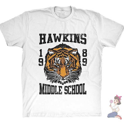 Hawkins middle school 1989 flat white t-shirt