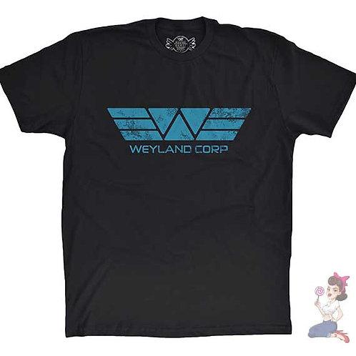 Weyland corp flat black t-shirt