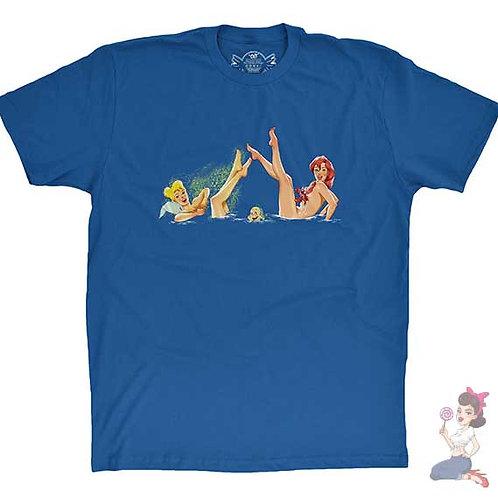 Disney's Ariel, tinker bell, flounder and Sebastian flat Blue t-shirt