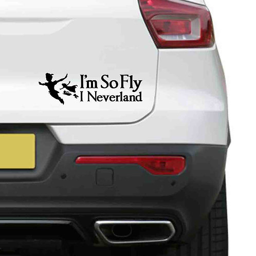 A vinyl decal showing Peter Pan, Wendy, Michael and Mr Darling saying I'm so fly I Neverland on a rear car boot