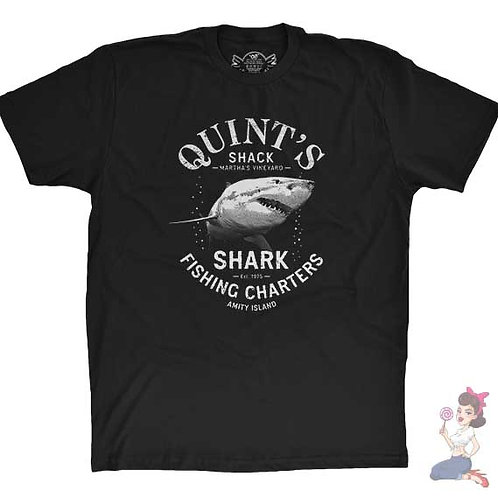 Quint's shark fishing charters flat black t-shirt