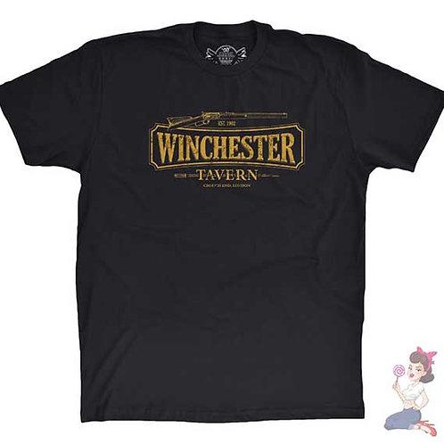 Shaun Of The Dead The Winchester Tavern flat black t-shirt