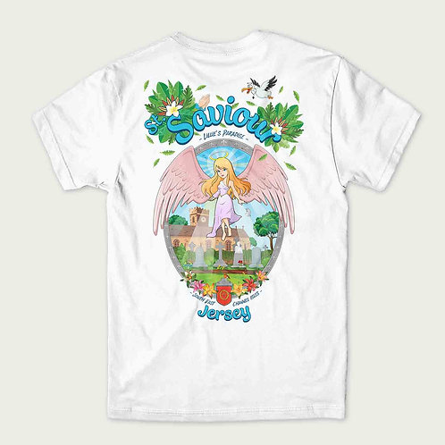 angel floating in the air above St Saviour Church Jersey on a flat t-shirt