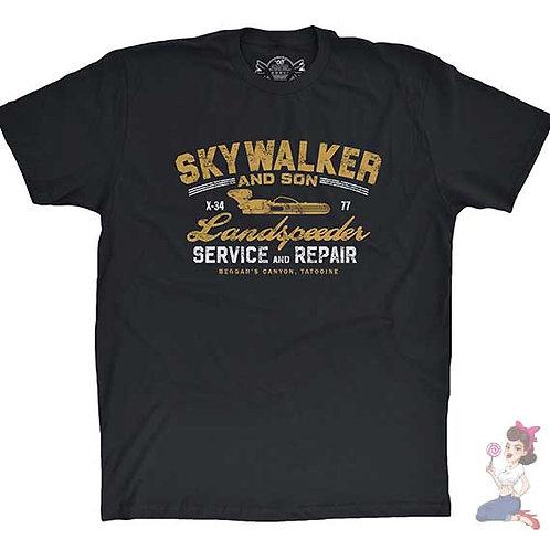 Skywalker & son landspeeder service and repair flat black t-shirt