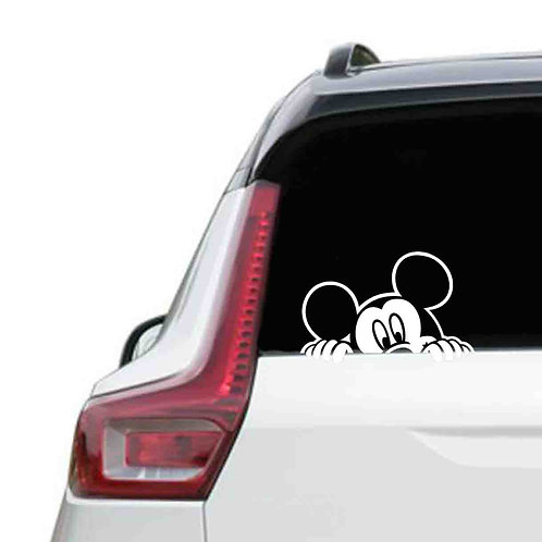A vinyl decal showing Mickey mouse on a rear car window