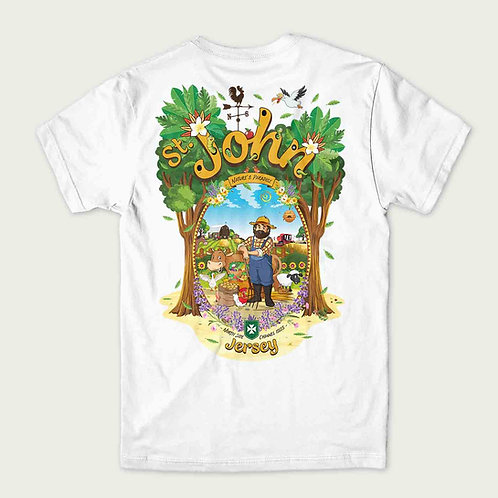 A cartoon farmer with all the farm animals in St Johns Jersey on the back of a t-shirt