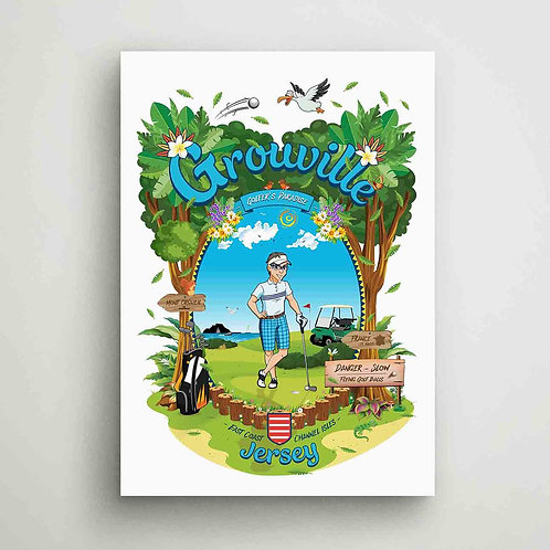 Grouville Golfer's Paradise Poster Print Jersey