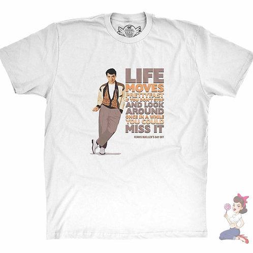 A white ferris bueller's t-shirt