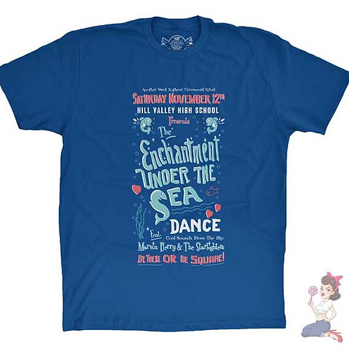 Back to the future enchantment under the sea flat blue t-shirt
