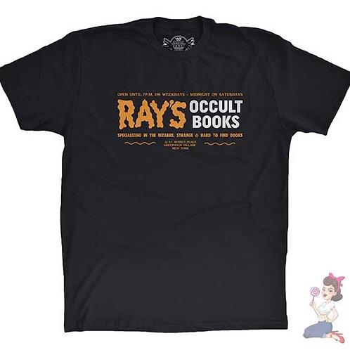 Ray's occult books flat black t-shirt