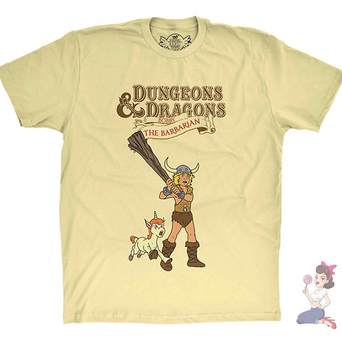 Bobby the Barbarian from Dungeons and Dragons yellow t-shirt