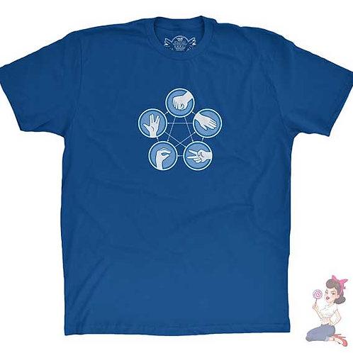The Flash - Rock Paper Scissors Lizard Spock flat blue t-shirt