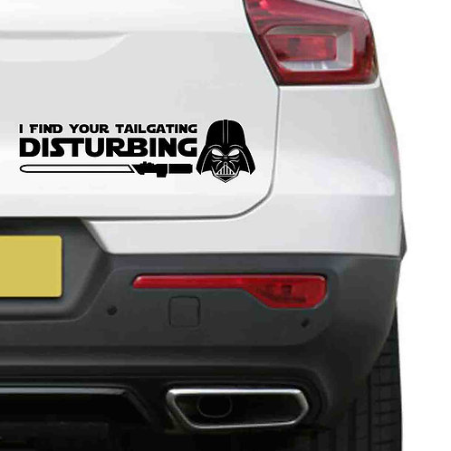 A vinyl decal showing Darth Vader saying I find your lack of faith disturbing on a rear car boot