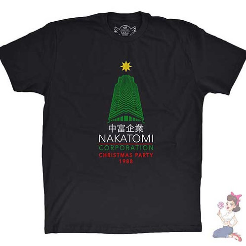 Die Hard Nakatomi corporation christmas party flat black t-shirt