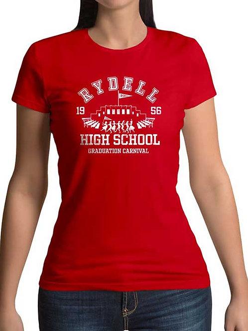 Women's regular full frontal red t-shirt of Grease Rydell High School Graduation Carnival