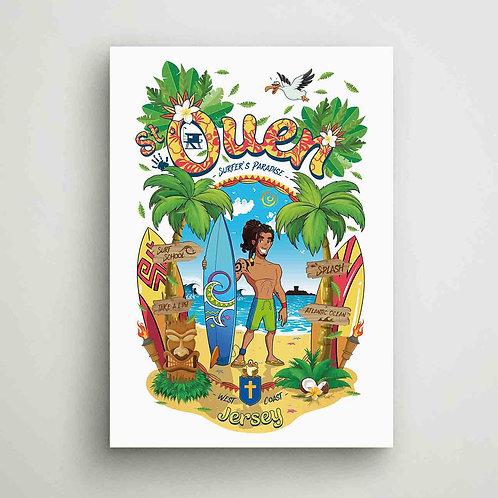 St Ouen Surfer's Paradise Poster Print Jersey