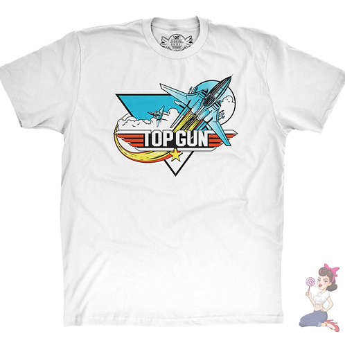 Top Gun white t-shirt showing two F14 tomcat planes