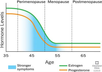 Oestrogen levels drop during the menopause.