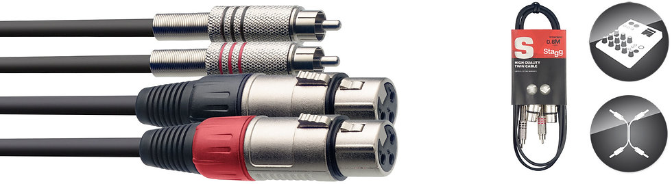 Twin cable XLR 60cm