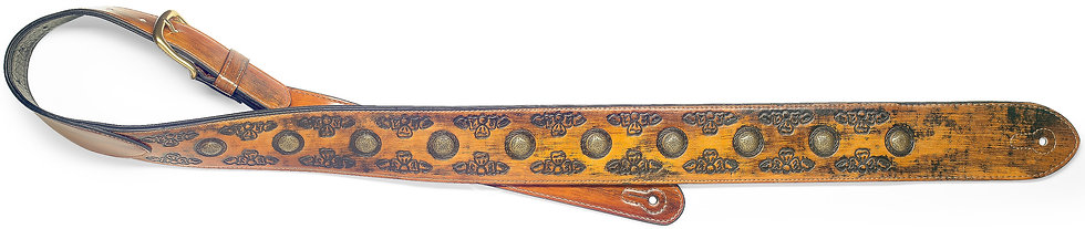 Light Brown Padded Distressed Leatherette Guitar Strap With Pressed Flower