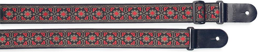 Woven Nylon Ukulele Strap | Flower pattern RED