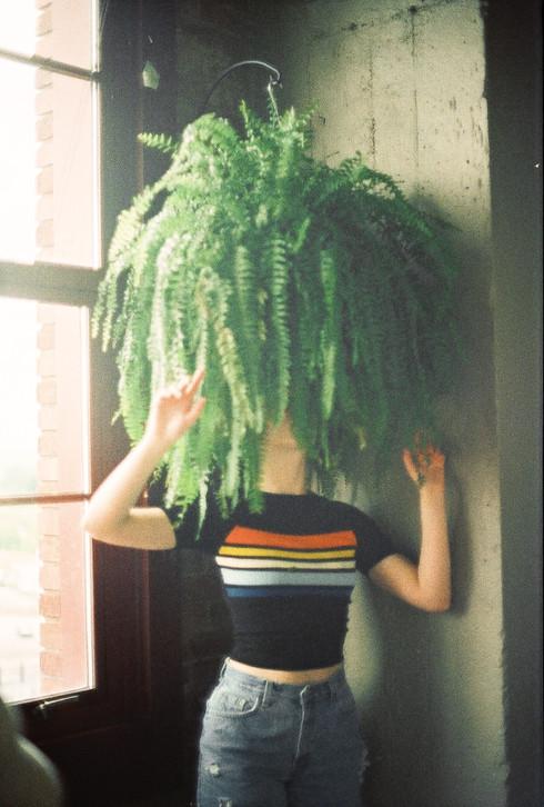 Plant Head Film Photography Kansas City River Market Bella DOnna Model