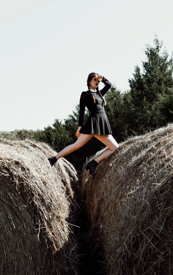 Kansas City Model Bella Donna High Fashion Photoshoot Hay Bales Wednesday Addams