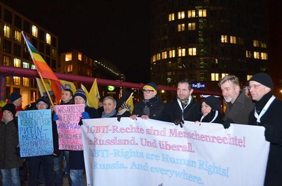 Demonstration gegen homophobes Gesetzgebungsvorhaben in St. Petersburg