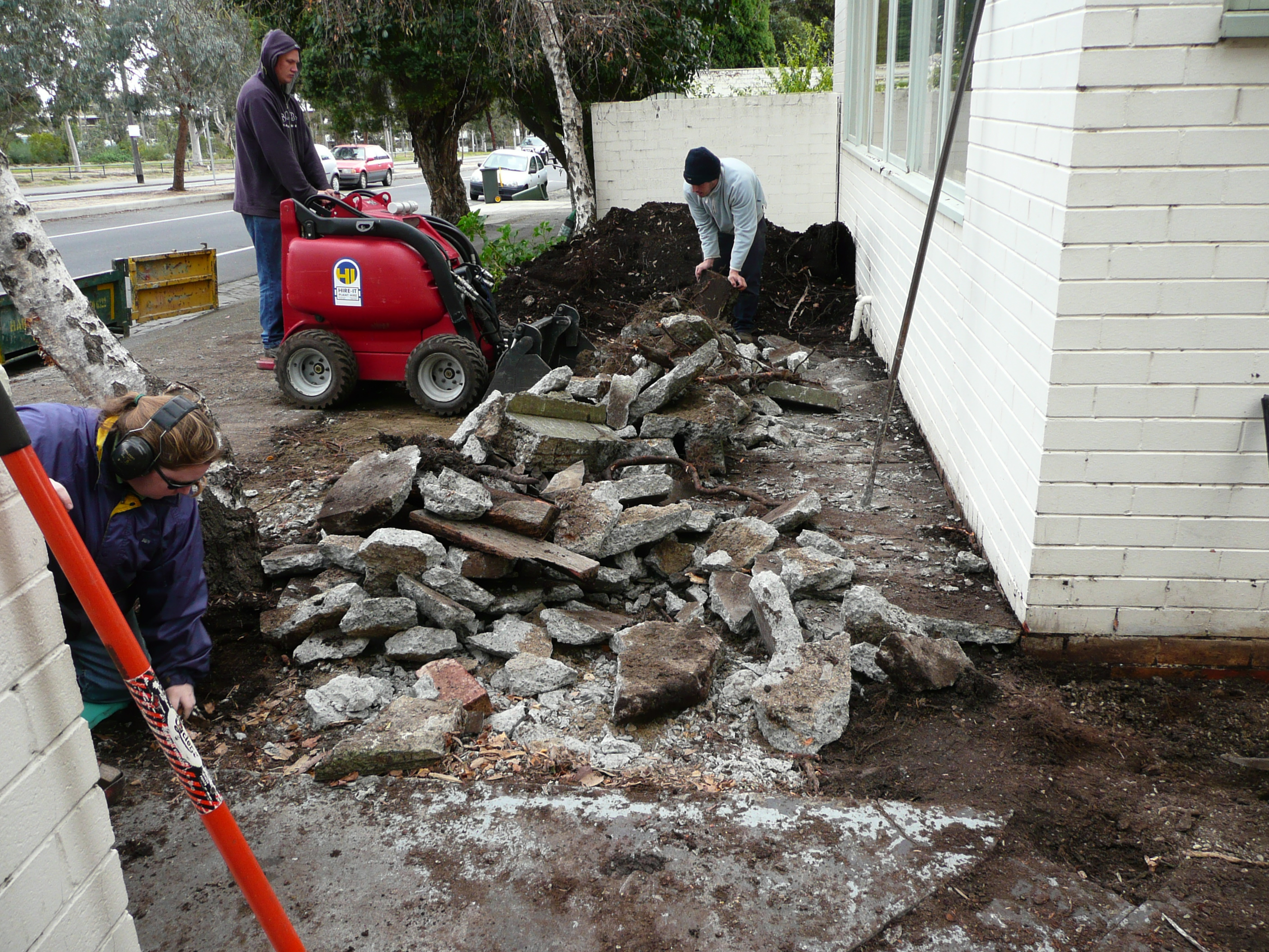 Breaking up concrete for landscaping